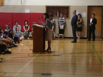 Greeting Grade 9 students assembly